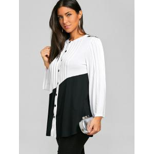 Two Tone Pleated Long Sleeve Top -