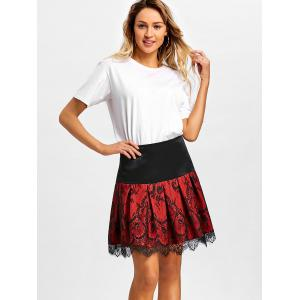 High Waist Lace Mini Pleated Skirt -