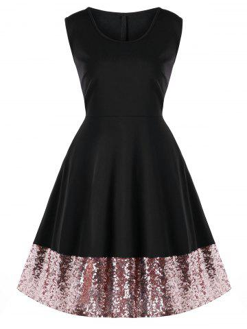 Store Plus Size Sleeveless Sequin Hem Dress