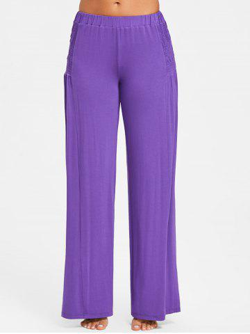 Elastic Waist Smocked Wide Leg Pants