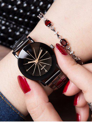 Rhinestone Geometric Ray металлический ремешок Lover Analog Watch
