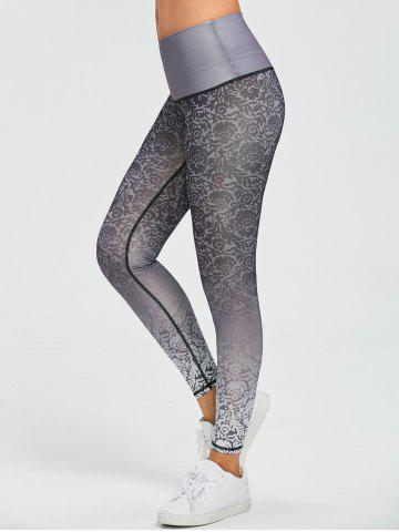 Best Active Brocade Ombre Print Tights Leggings