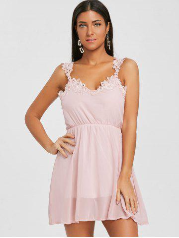 Lace Insert Chiffon Flare Dress
