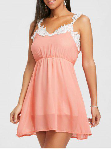 Store Lace Insert Chiffon Flare Dress