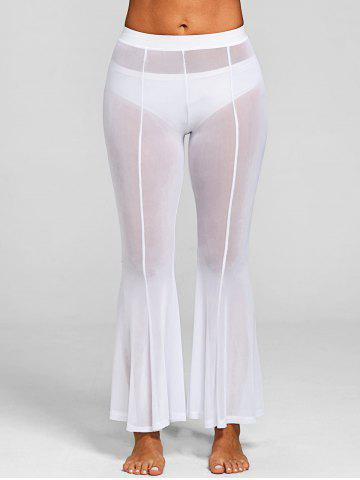 Fancy Sheer Mesh Cover-up Flare Pants with Split