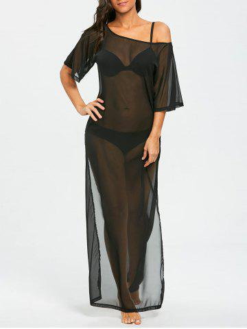 Discount Slit Sheer Chiffon Maxi Cover Up Dress