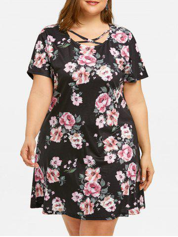 Chic Plus Size Printed Criss Cross Dress