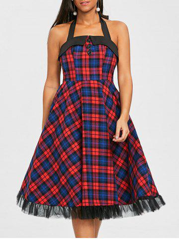 Latest Plaid Halter Fit and Flare Dress