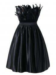 Plus Size Feather Embellished Vintage Swing Dress -