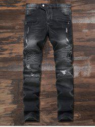 Ripped Slim Fit Zip Moto Jeans -