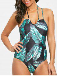 Tropical Leaves Print One Piece Swimsuit -