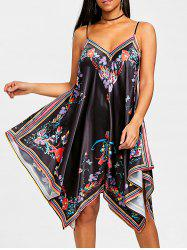 Asymmetric Cami Strap Floral Dress -