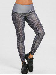 Legging Collant Performance à Imprimé Brocart - Gris XL