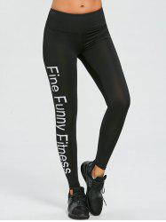 Letter Print Sports Leggings -
