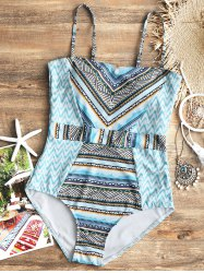 Zig Zag Printed One Piece Swimsuit -