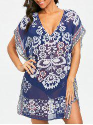 Посмотрите Thru Print Kaftan Cover Up Dress -