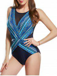 Surplice Mesh Insert Printed Swimsuit -