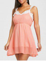 Lace Insert Chiffon Flare Dress -