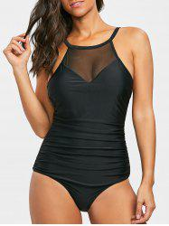 High Neck Mesh Insert One Piece Swimsuit -