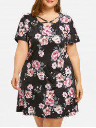 Plus Size Printed Criss Cross Dress -