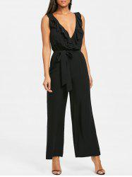 Plunging Neckline Ruffle Palazzo Jumpsuit -