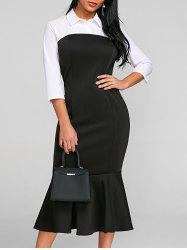 Shirt Collar Two Tone Mermaid Dress -