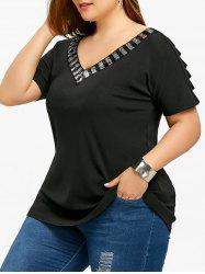 Plus Size Sequins Ripped Tunic Tee - Black - 2xl