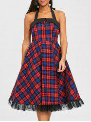 Plaid Halter Fit and Flare Dress -