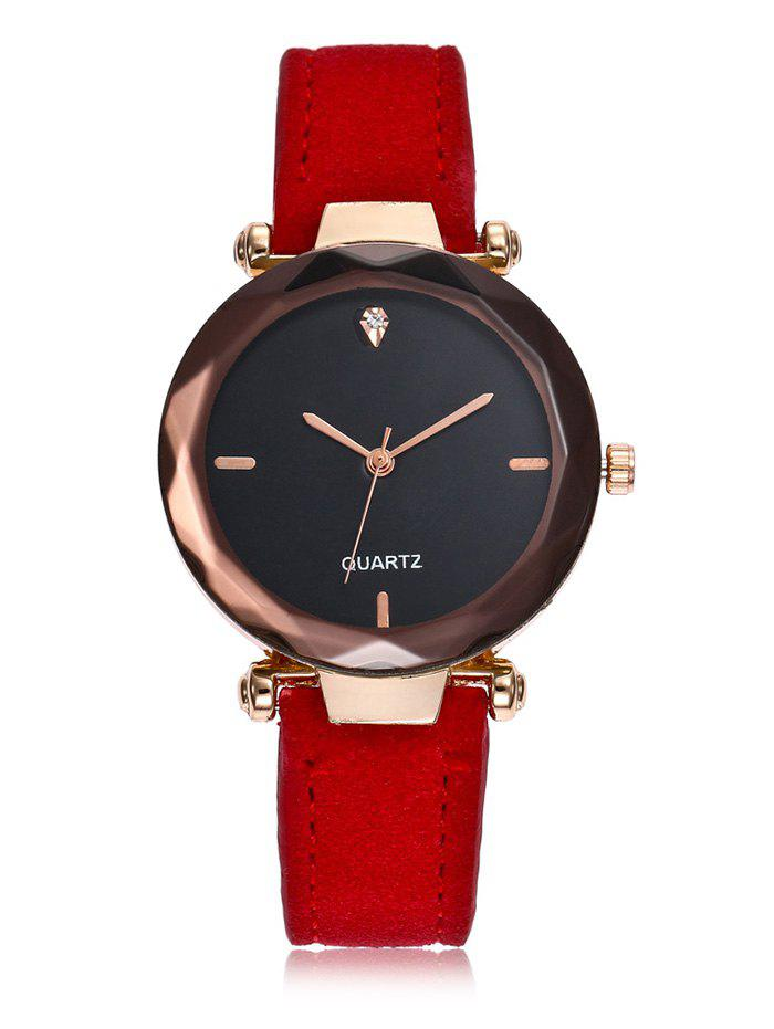 Outfits Rhinestone Embellished Faux Leather Band Simple Analog Watch
