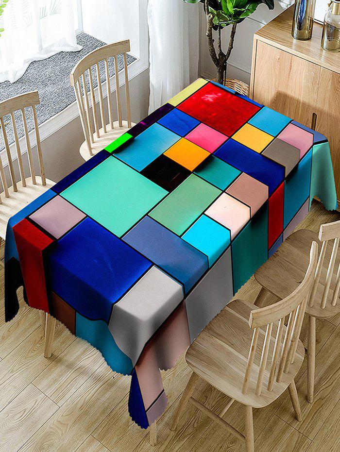New Colorful Rectangles and Squares Print Fabric Table Cloth
