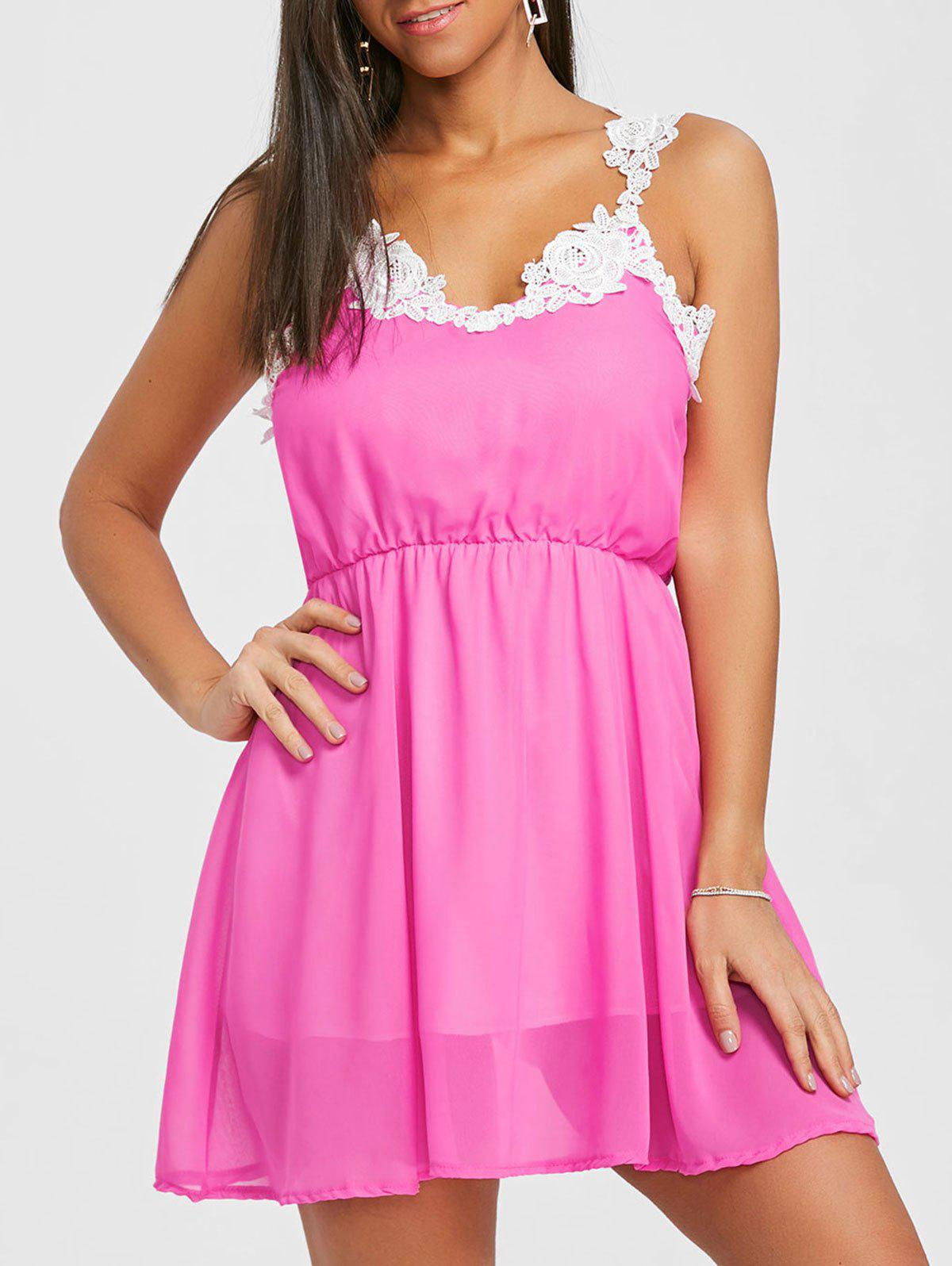 Affordable Lace Insert Chiffon Flare Dress