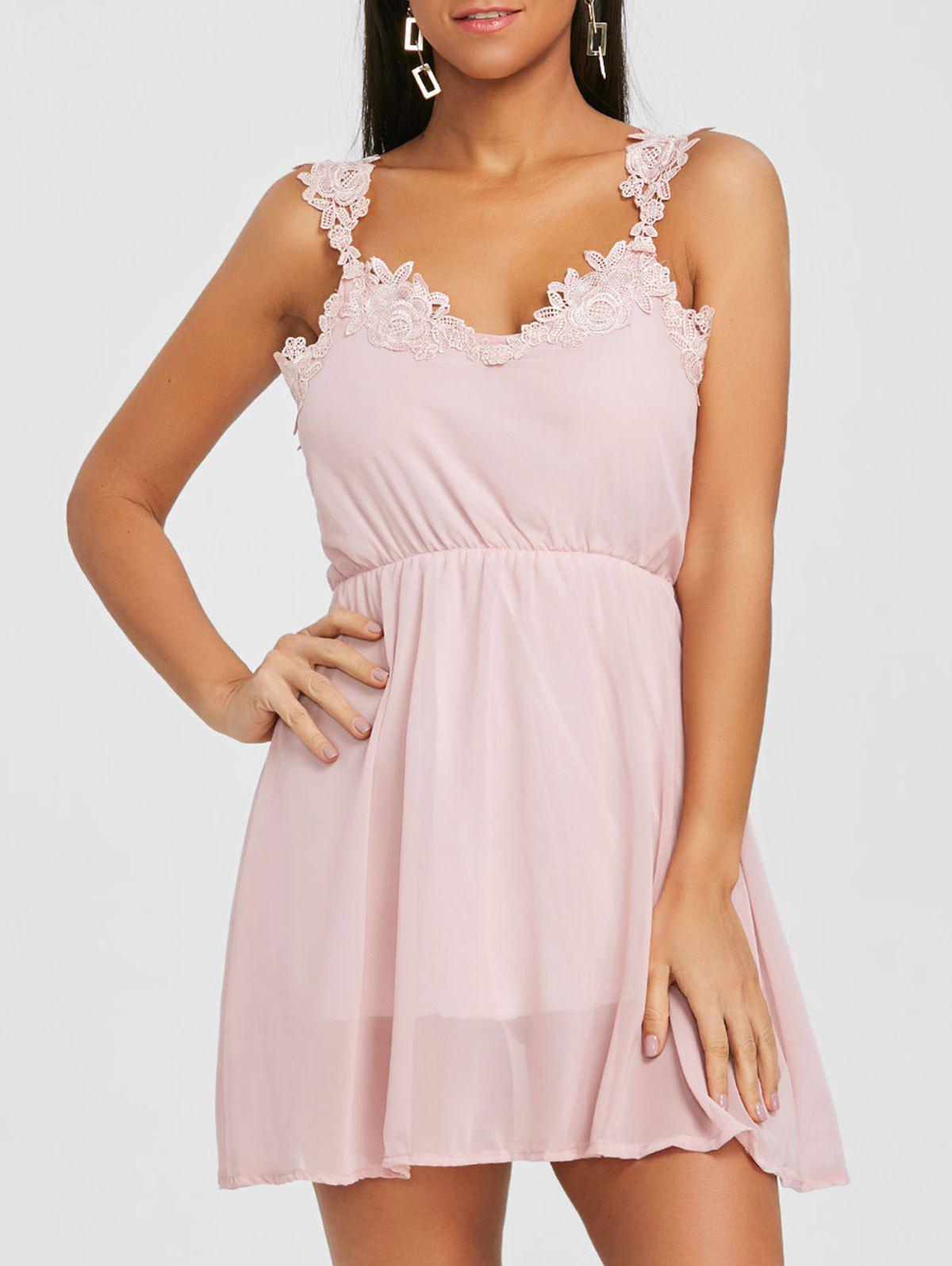 New Lace Insert Chiffon Flare Dress