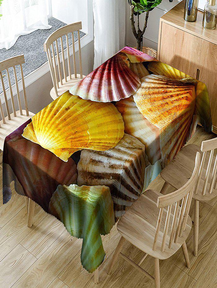 Unique Scallop Shell Print Waterproof Dining Table Cloth