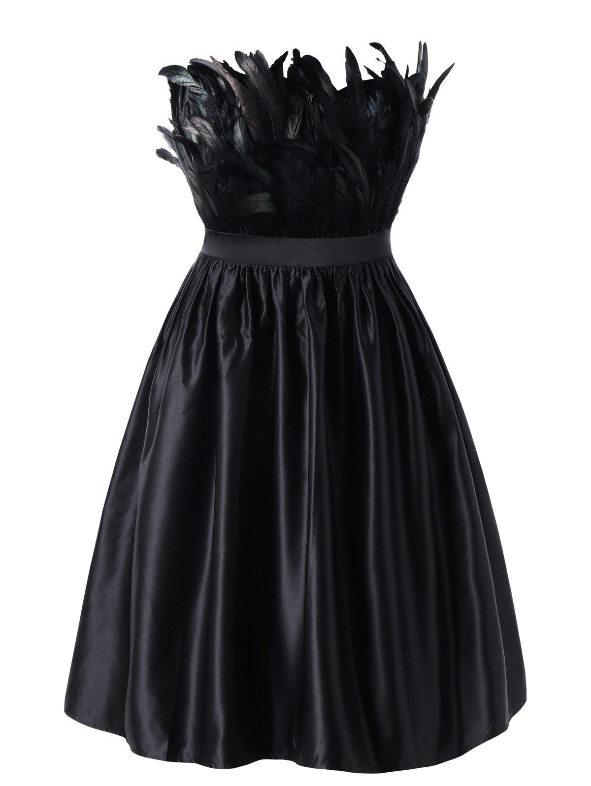 Trendy Plus Size Feather Embellished Vintage Swing Dress