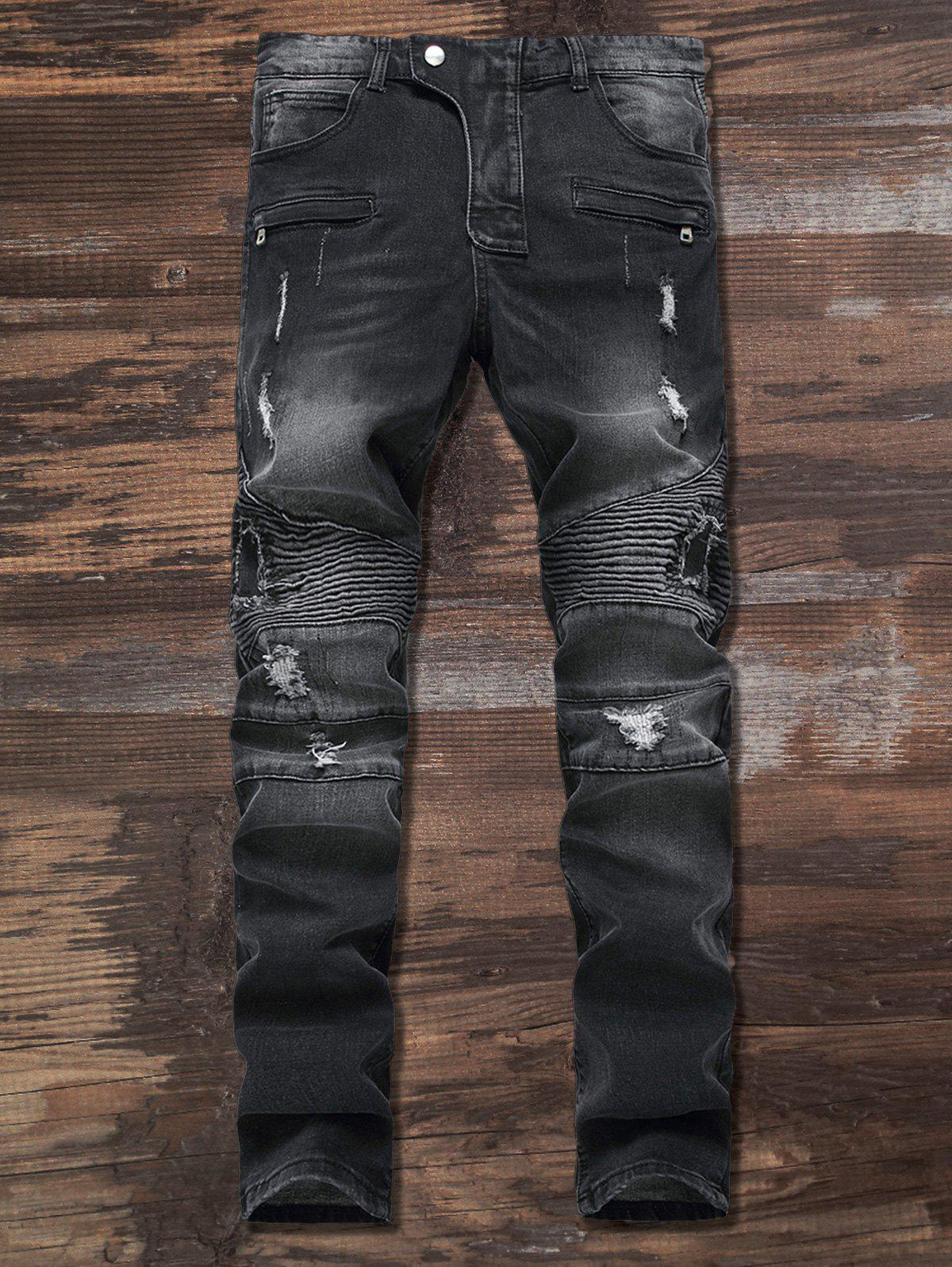 Unique Ripped Slim Fit Zip Moto Jeans