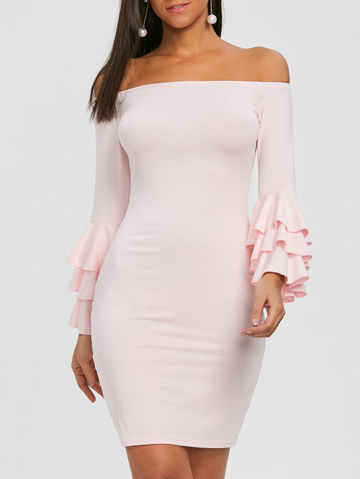 7705c0758bcb 58% OFF   2019 Flare Sleeve OFF Shoulder Mini Bodycon Dress ...