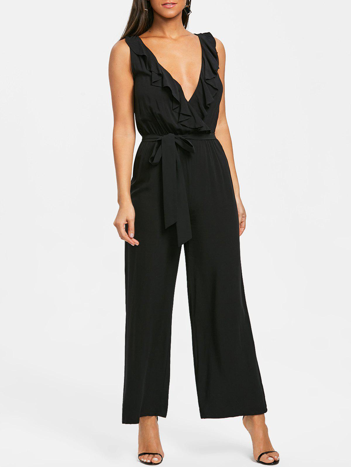 New Plunging Neckline Ruffle Palazzo Jumpsuit