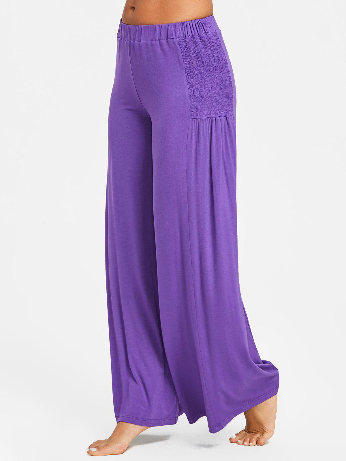 Trendy Elastic Waist Smocked Wide Leg Pants