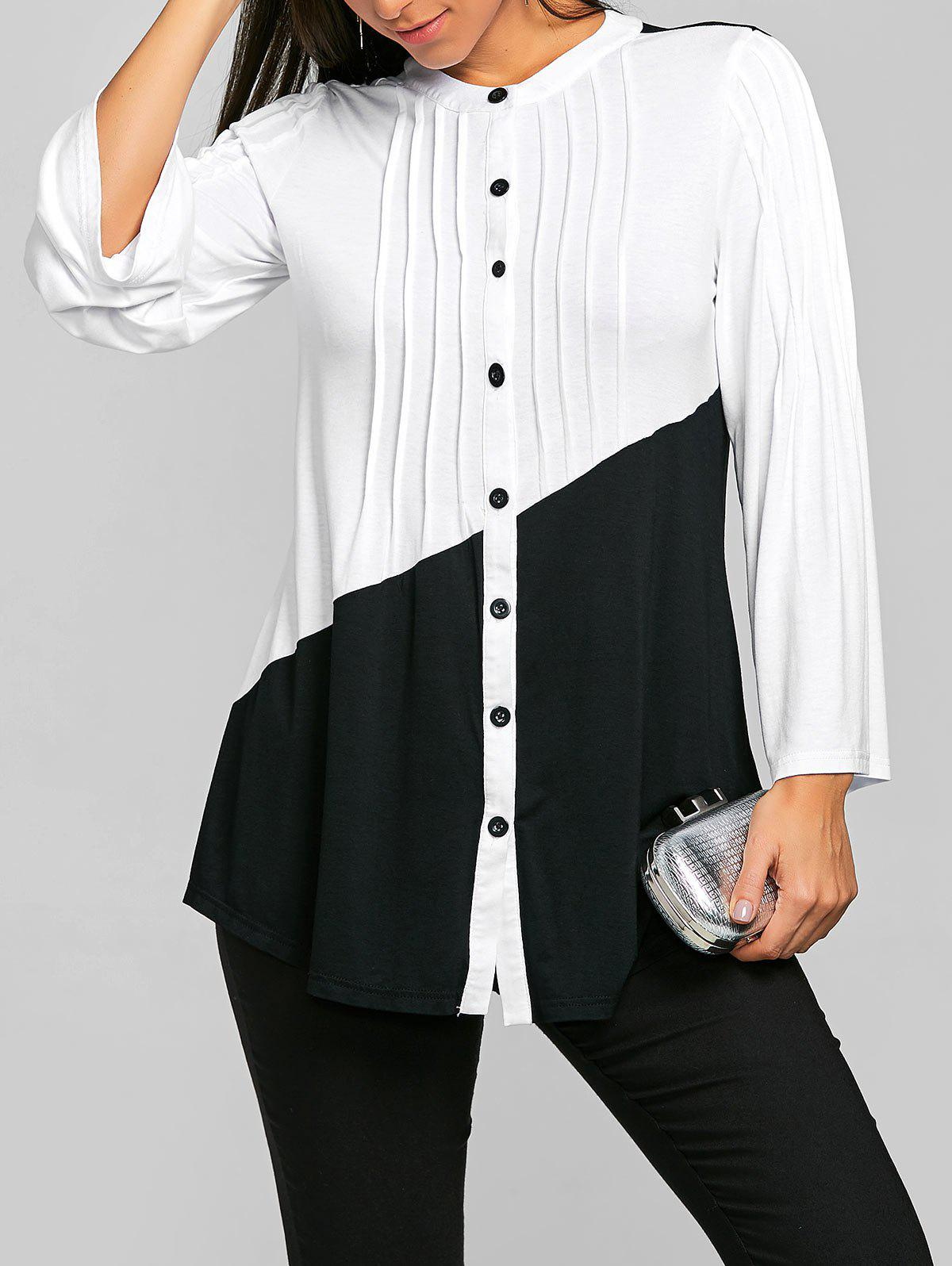 Sale Two Tone Pleated Long Sleeve Top