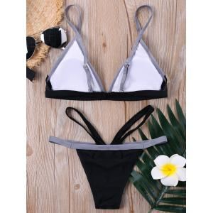 Color Block Cut Out Bikini Set -
