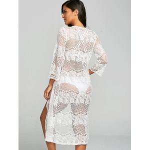 Lace See Thru Collarless Cover Up -
