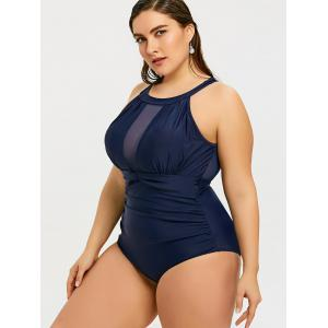 Plus Size Mesh Insert Backless Swimsuit -