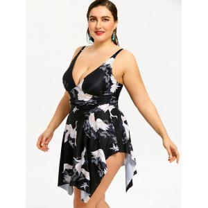 Crane  Plus Size Asymmetric Skirted One Piece Swimsuit -