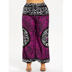 Plus Size Drawstring Mandala Graphic Harem Pants -