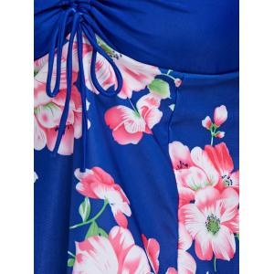 Plunge Floral Plus Size Skirted Swimdress -