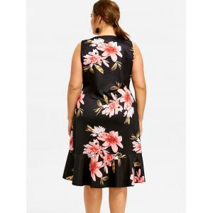 Plus Size Printed Plunge Dress -