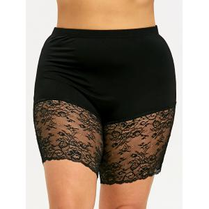 Plus Size Sheer Lace Trim Short Leggings -