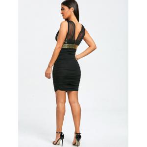 Glittery Plunging Neck Ruched Bodycon Dress -