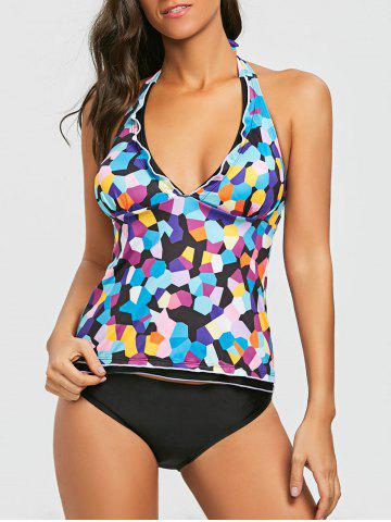 Affordable Halter Geometric Print Empire Waist Tankini