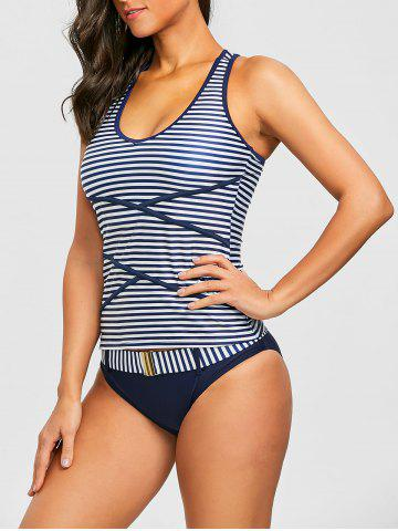 Affordable V Neck Stripe Racerback Tankini Swimsuit